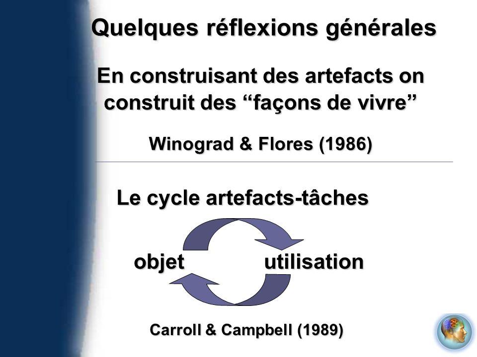 Quelques réflexions générales En construisant des artefacts on construit des façons de vivre Winograd & Flores (1986) Le cycle artefacts-tâches objetu