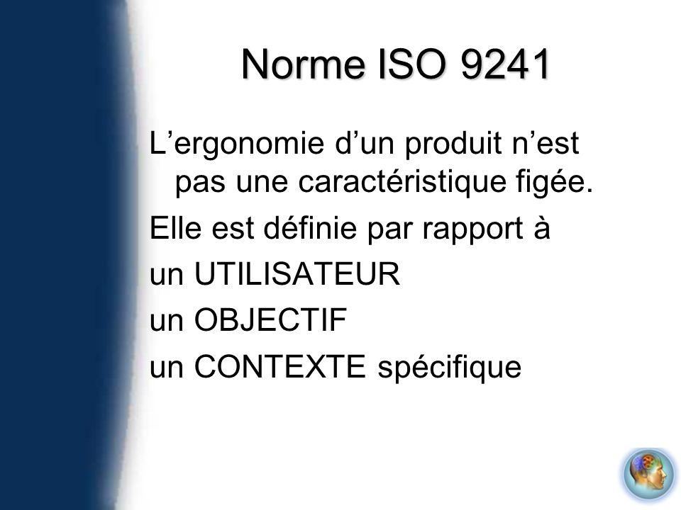 Norme ISO 9241 Lergonomie dun produit nest pas une caractéristique figée. Elle est définie par rapport à un UTILISATEUR un OBJECTIF un CONTEXTE spécif