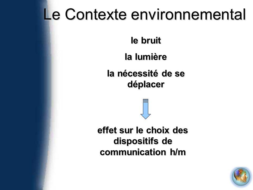 Le Contexte environnemental le bruit la lumière la nécessité de se déplacer effet sur le choix des dispositifs de communication h/m