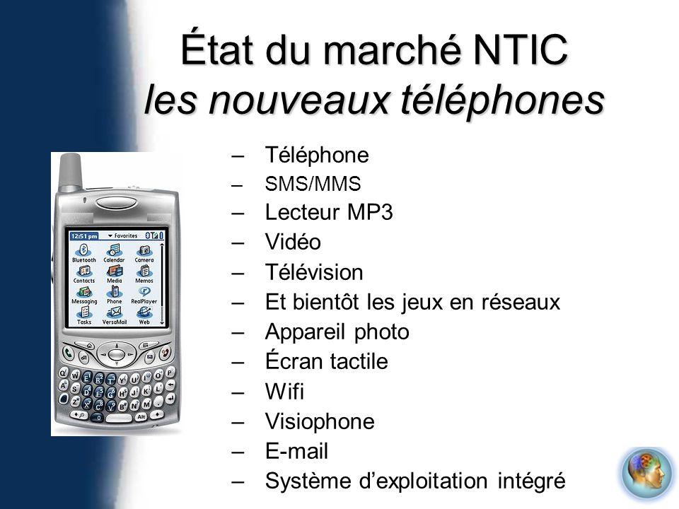 –Téléphone –SMS/MMS –Lecteur MP3 –Vidéo –Télévision –Et bientôt les jeux en réseaux –Appareil photo –Écran tactile –Wifi –Visiophone –E-mail –Système