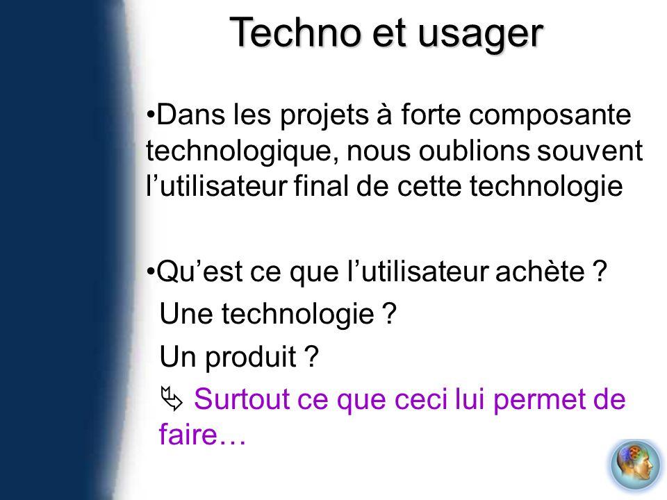 Dans les projets à forte composante technologique, nous oublions souvent lutilisateur final de cette technologie Quest ce que lutilisateur achète ? Un