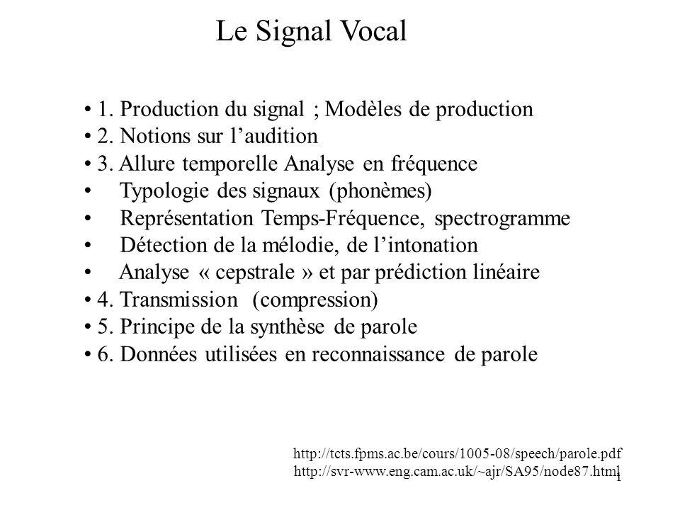 1 Le Signal Vocal 1. Production du signal ; Modèles de production 2. Notions sur laudition 3. Allure temporelle Analyse en fréquence Typologie des sig