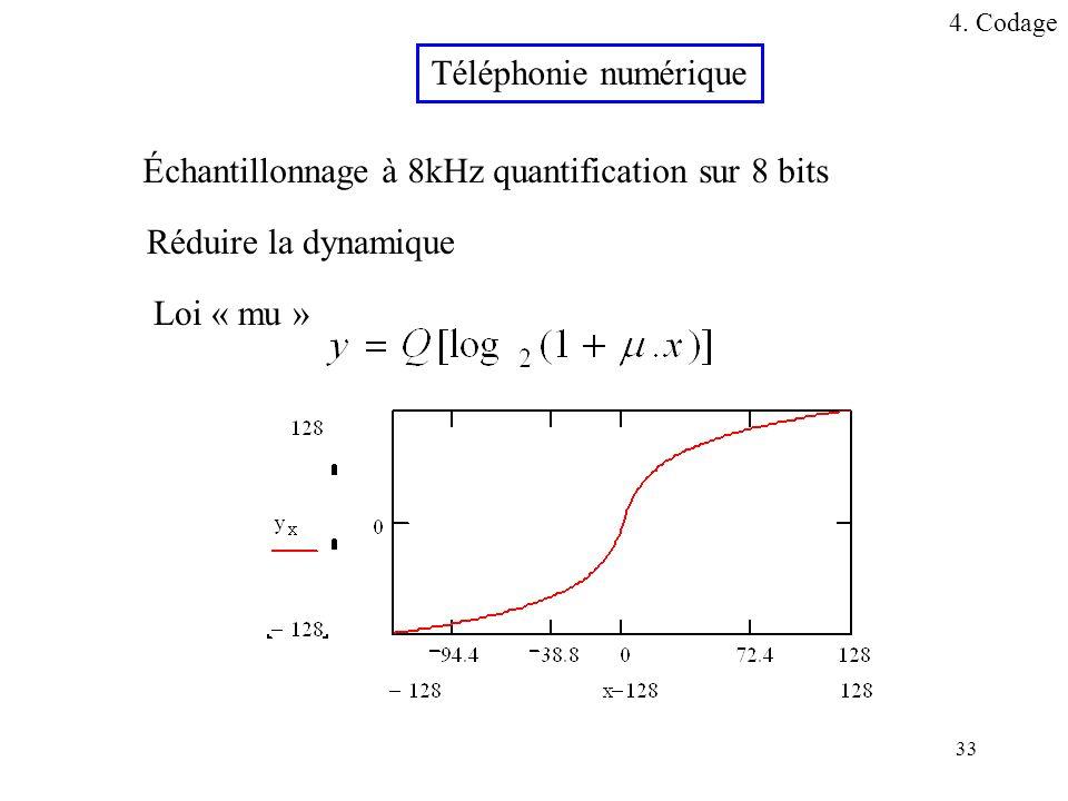 33 Téléphonie numérique Réduire la dynamique Loi « mu » Échantillonnage à 8kHz quantification sur 8 bits 4. Codage