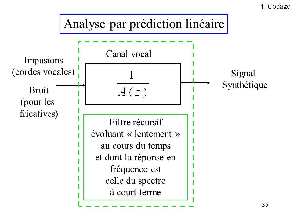 36 Analyse par prédiction linéaire Canal vocal Impusions (cordes vocales) Bruit (pour les fricatives) Signal Synthétique Filtre récursif évoluant « le