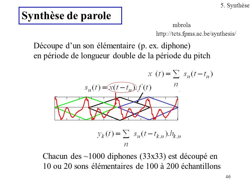 46 Découpe dun son élémentaire (p. ex. diphone) en période de longueur double de la période du pitch Chacun des ~1000 diphones (33x33) est découpé en