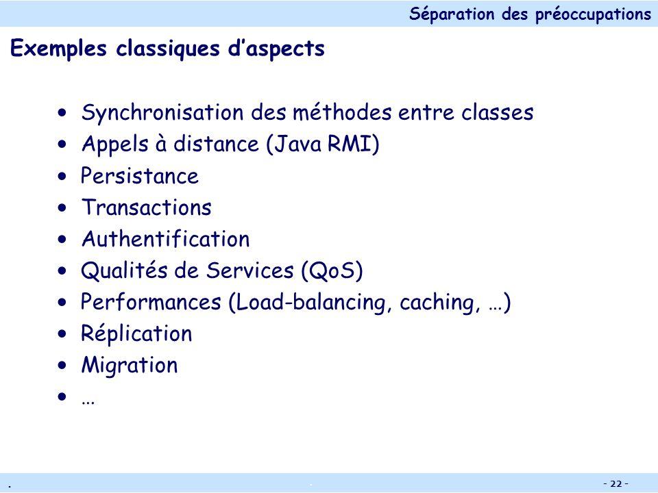 Séparation des préoccupations.. - 21 - OOP vs AOP Programme orienté objet Structure et fonctions Appels distants Synchronization Programme avec AOP Cl