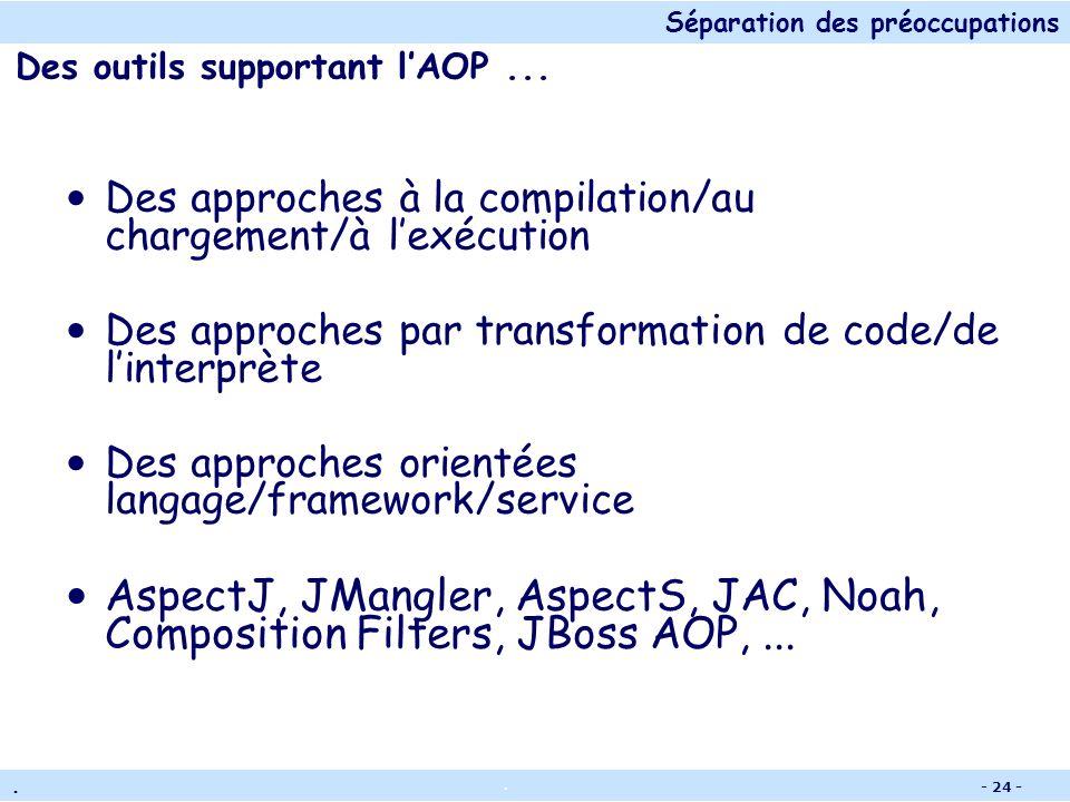 Séparation des préoccupations.. - 23 - Concepts de base Point de jonction (join point) : Les différents types de points de contrôle sur le programme d