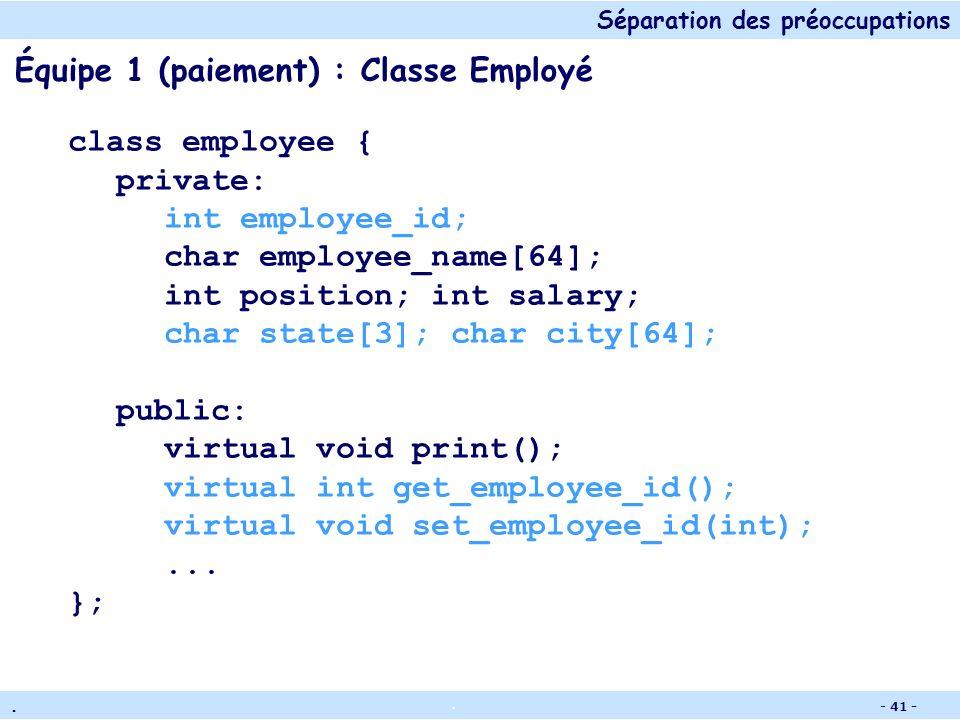 Séparation des préoccupations.. - 40 - Scénario de partage de code 2 équipes de développement : L'équipe comptable (paiement) L'équipe des ressources