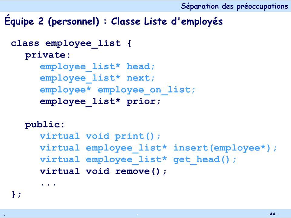 Séparation des préoccupations.. - 43 - Équipe 1 (paiement) : Classe Liste d'employés class employee_list { private: employee_list* head; employee_list