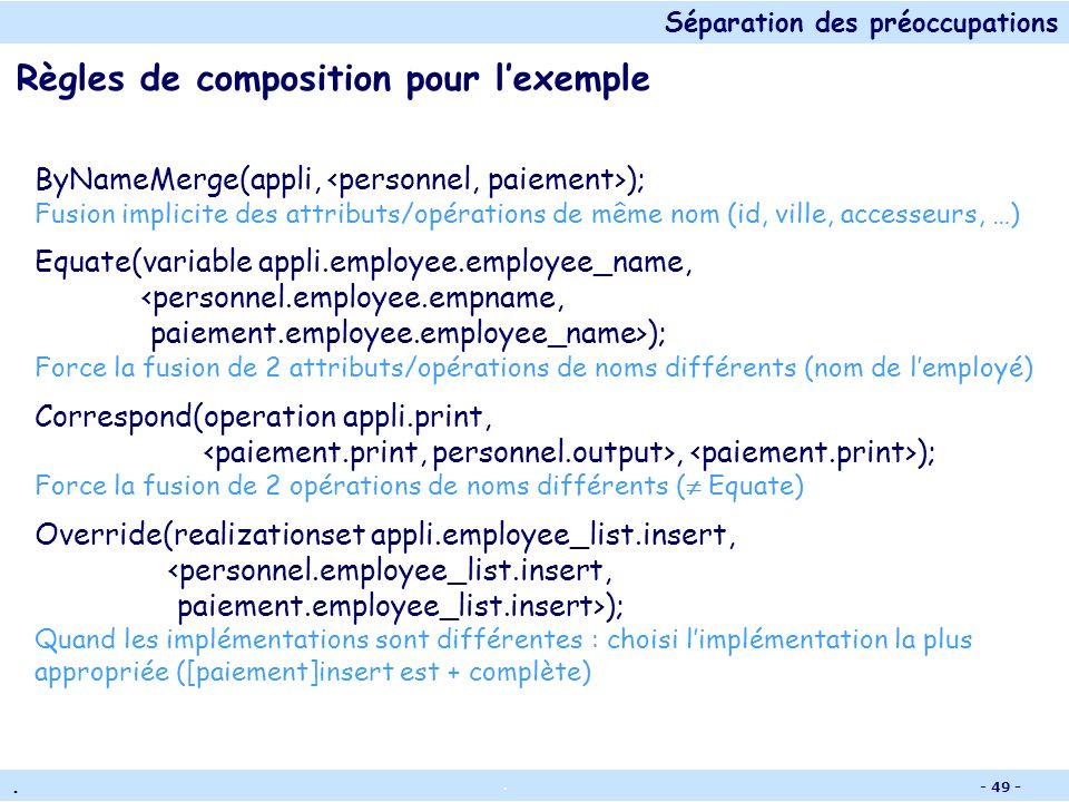 Séparation des préoccupations.. - 48 - Types de règles de composition Règles de correspondance Mise en correspondance sans spécifier comment combiner