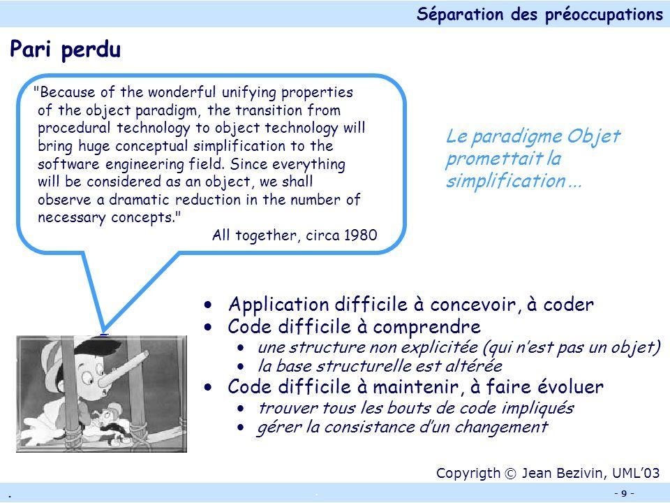Séparation des préoccupations.. - 8 - Trace Un exemple : Tomcat En rouge, les lignes de code pour tracer lexécution Mauvaise modularisation : le code