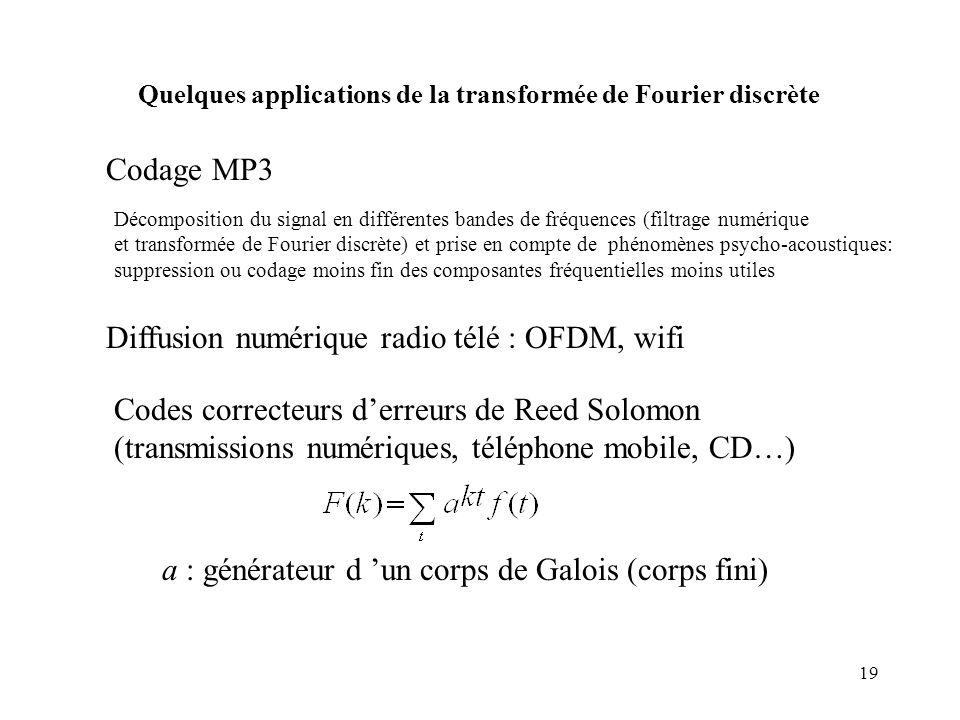 19 Codage MP3 Décomposition du signal en différentes bandes de fréquences (filtrage numérique et transformée de Fourier discrète) et prise en compte d