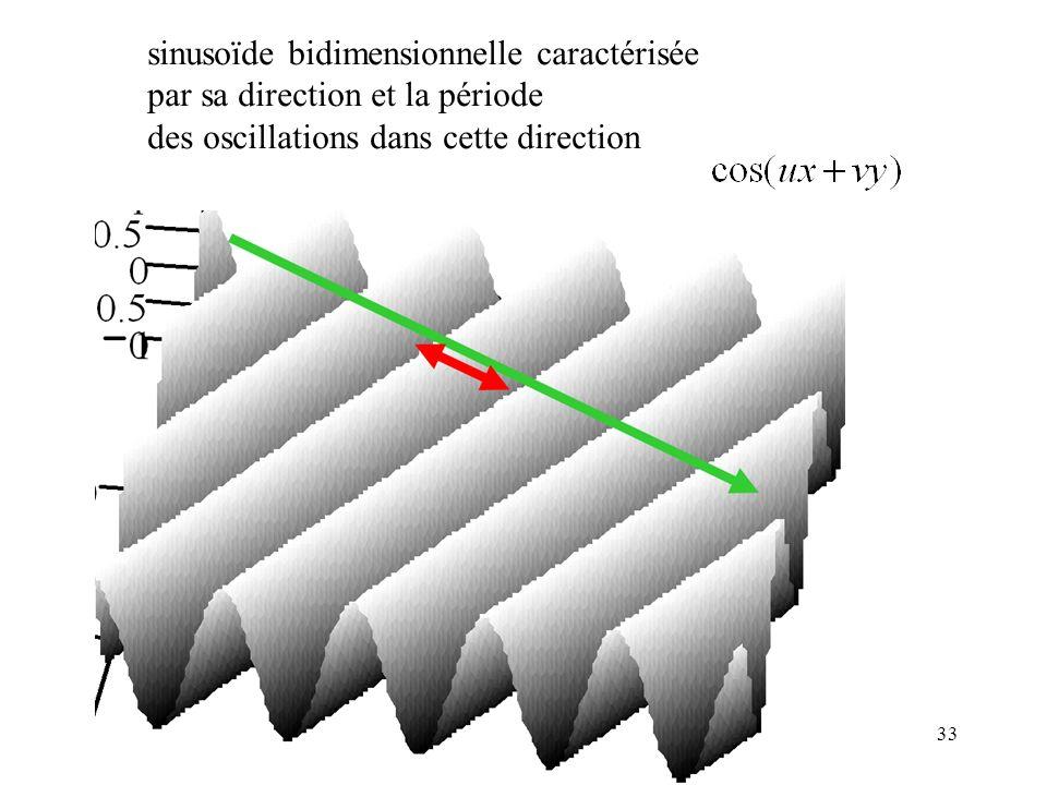 33 sinusoïde bidimensionnelle caractérisée par sa direction et la période des oscillations dans cette direction