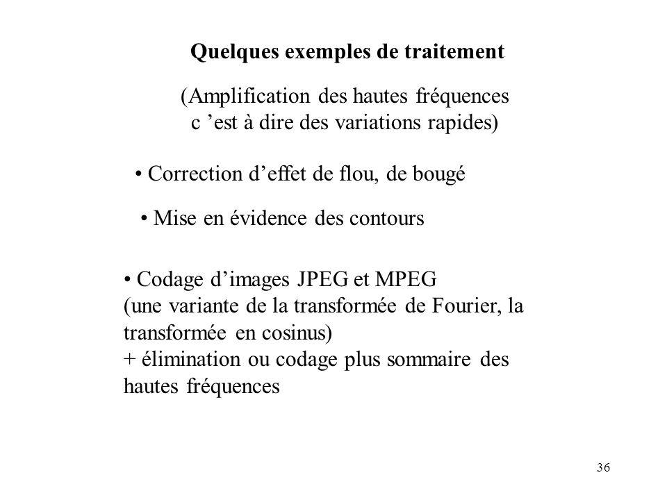 36 Quelques exemples de traitement Correction deffet de flou, de bougé Mise en évidence des contours (Amplification des hautes fréquences c est à dire