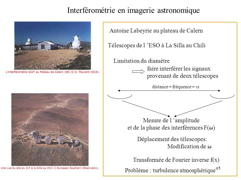 45 Interférométrie en imagerie astronomique Antoine Labeyrie au plateau de Calern Télescopes de l ESO à La Silla au Chili Mesure de l amplitude et de