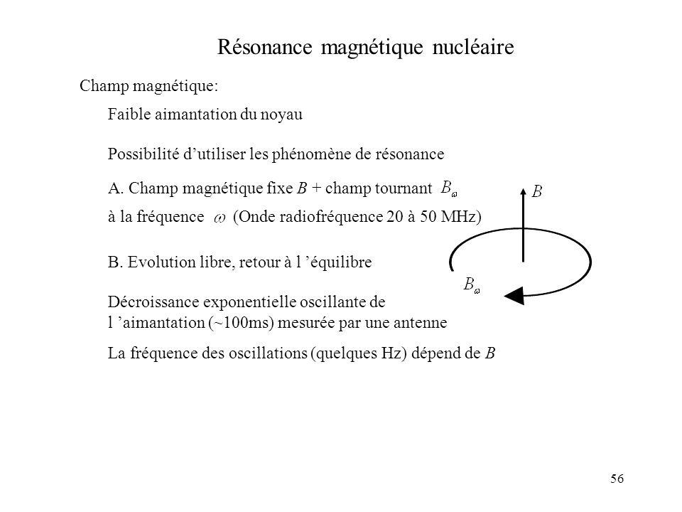 56 Résonance magnétique nucléaire Champ magnétique: Faible aimantation du noyau Possibilité dutiliser les phénomène de résonance A. Champ magnétique f