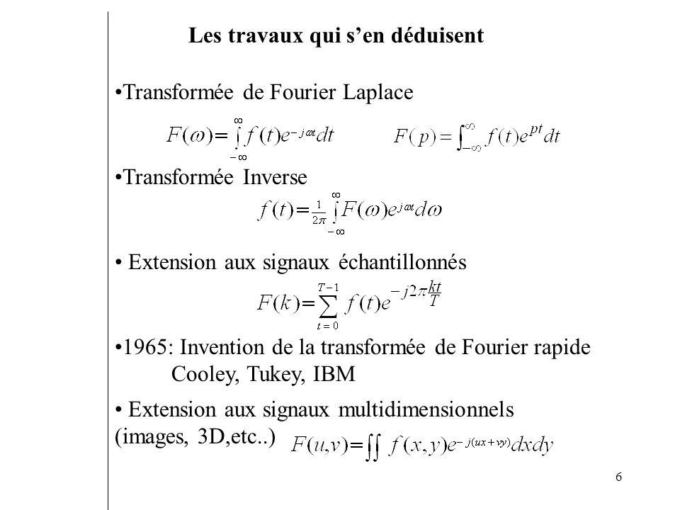 6 Transformée de Fourier Laplace Transformée Inverse Extension aux signaux échantillonnés Extension aux signaux multidimensionnels (images, 3D,etc..)