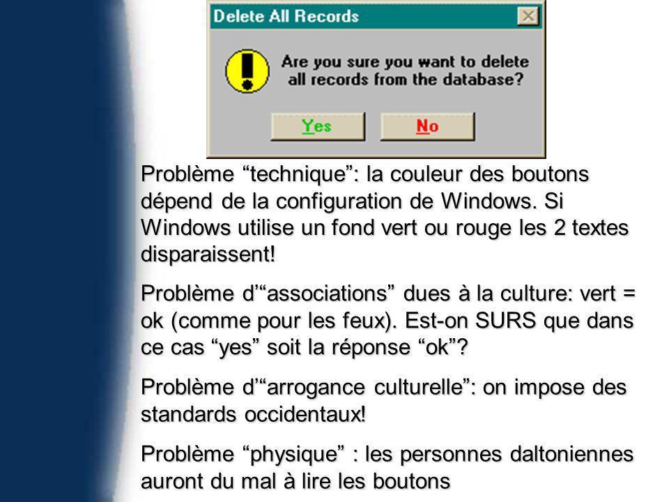 Problème technique: la couleur des boutons dépend de la configuration de Windows.