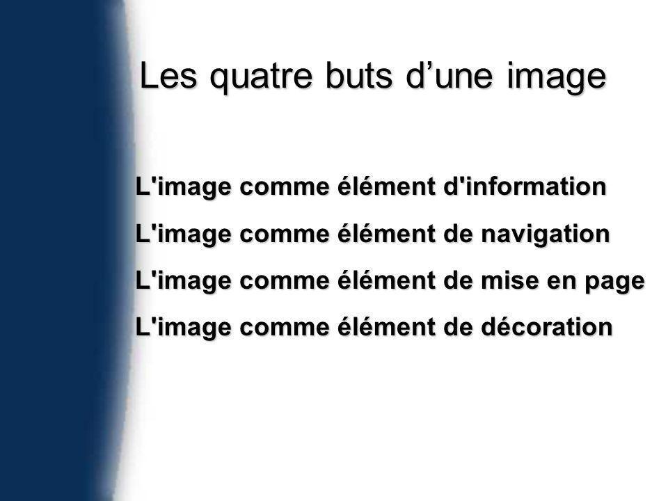 Les quatre buts dune image L image comme élément d information L image comme élément de navigation L image comme élément de mise en page L image comme élément de décoration