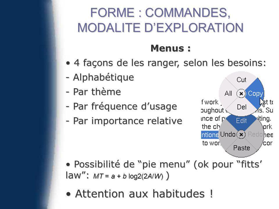 Menus : 4 façons de les ranger, selon les besoins: 4 façons de les ranger, selon les besoins: - Alphabétique - Par thème - Par fréquence dusage - Par importance relative Possibilité de pie menu (ok pour fitts law: MT = a + b log2(2A/W) ) Possibilité de pie menu (ok pour fitts law: MT = a + b log2(2A/W) ) Attention aux habitudes .