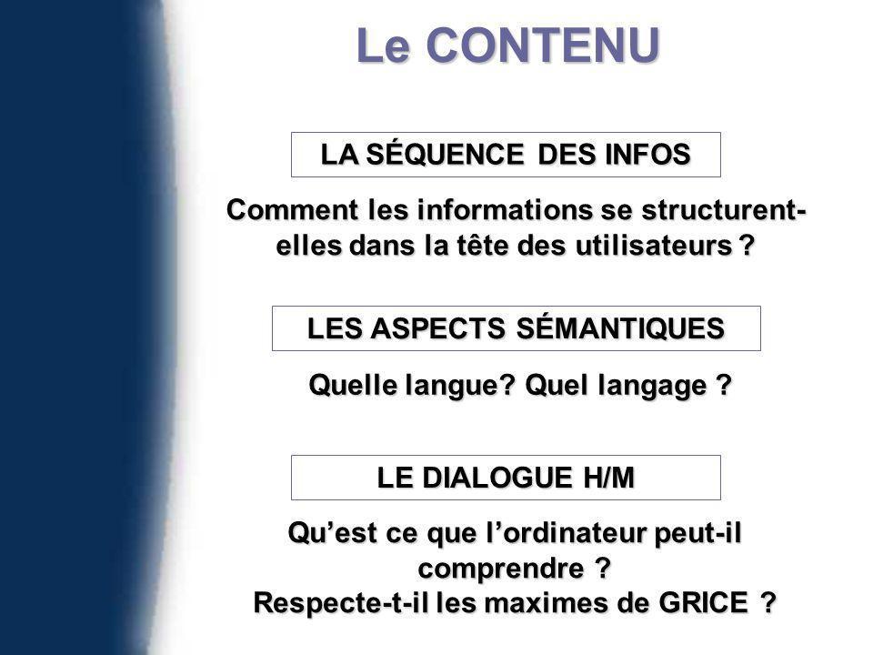 Le CONTENU LA SÉQUENCE DES INFOS Comment les informations se structurent- elles dans la tête des utilisateurs .