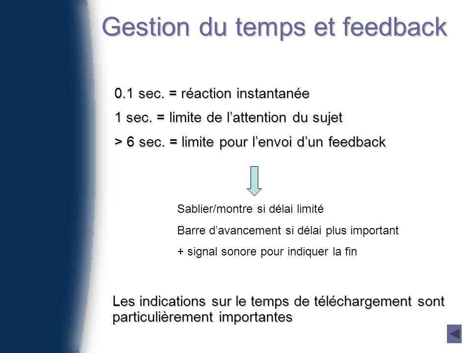 Gestion du temps et feedback 0.1 sec. = réaction instantanée 1 sec.