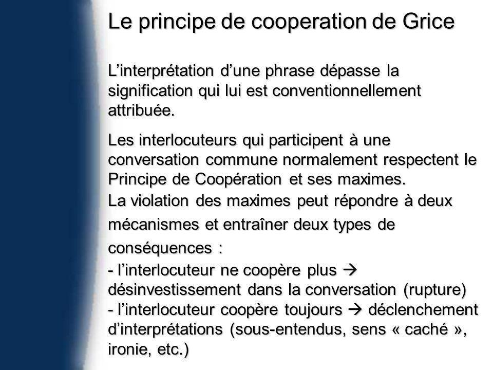 Le principe de cooperation de Grice Linterprétation dune phrase dépasse la signification qui lui est conventionnellement attribuée.