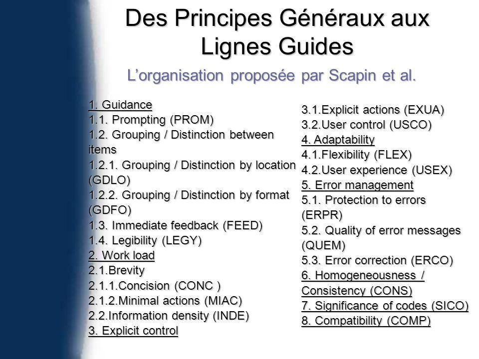 Des Principes Généraux aux Lignes Guides Lorganisation proposée par Scapin et al.