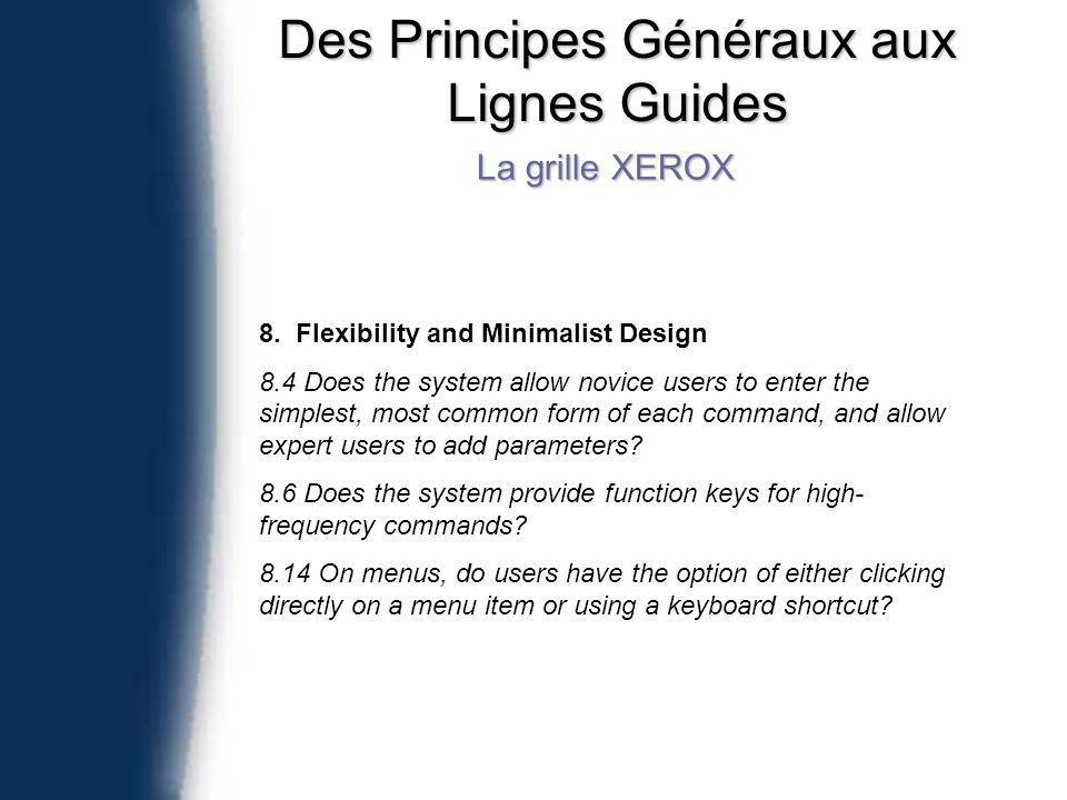 Des Principes Généraux aux Lignes Guides La grille XEROX 8.