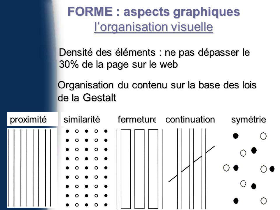 lorganisation visuelle Densité des éléments : ne pas dépasser le 30% de la page sur le web Organisation du contenu sur la base des lois de la Gestalt proximitésimilaritéfermeturecontinuationsymétrie