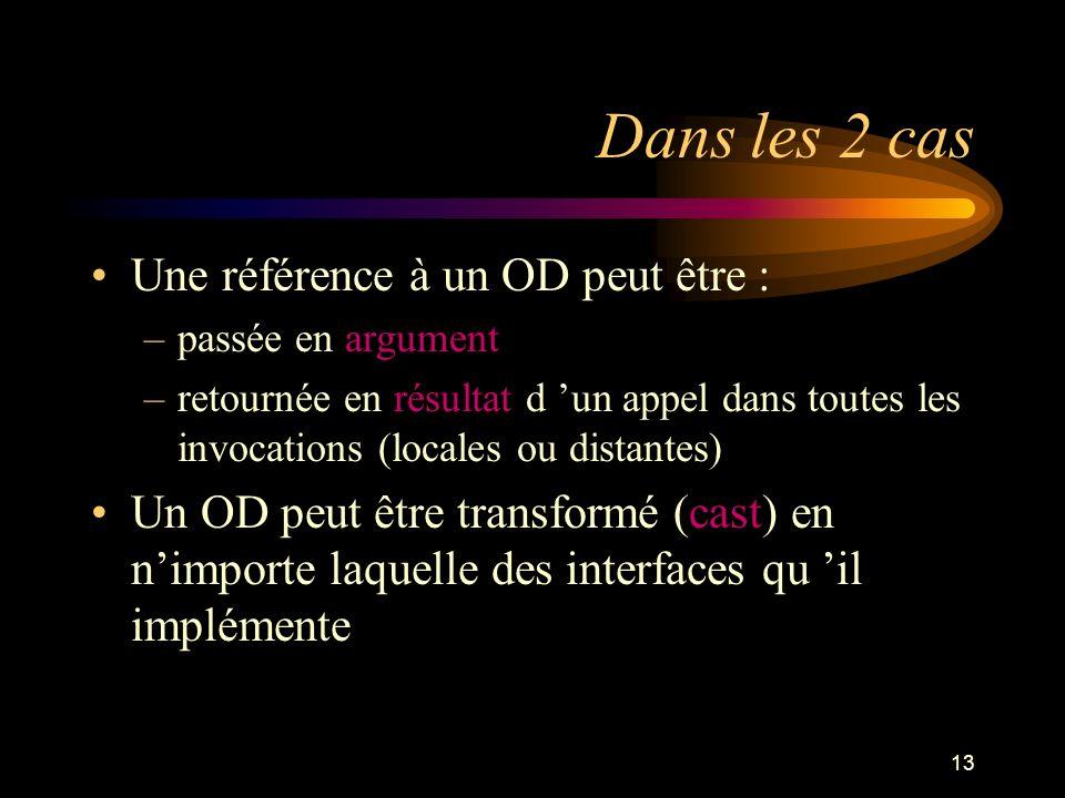 13 Dans les 2 cas Une référence à un OD peut être : –passée en argument –retournée en résultat d un appel dans toutes les invocations (locales ou dist