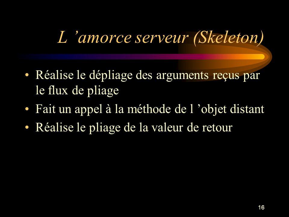 16 L amorce serveur (Skeleton) Réalise le dépliage des arguments reçus par le flux de pliage Fait un appel à la méthode de l objet distant Réalise le