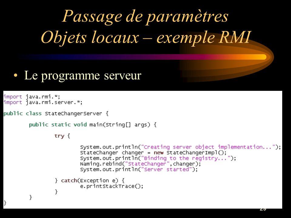 29 Passage de paramètres Objets locaux – exemple RMI Le programme serveur
