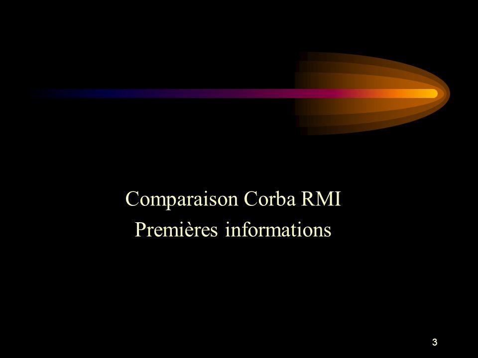3 Comparaison Corba RMI Premières informations