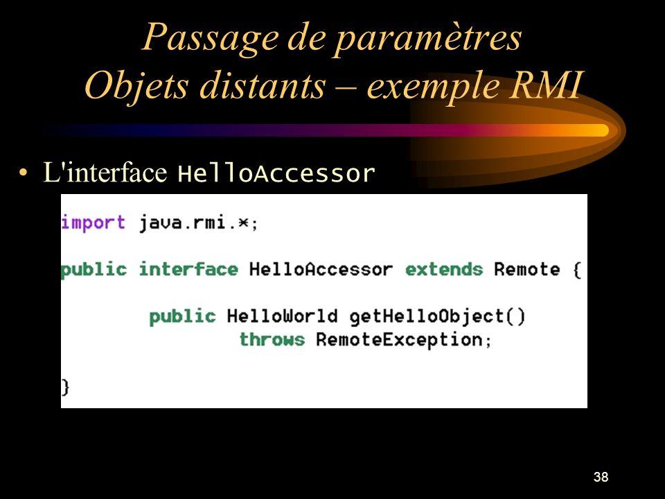 38 Passage de paramètres Objets distants – exemple RMI L'interface HelloAccessor