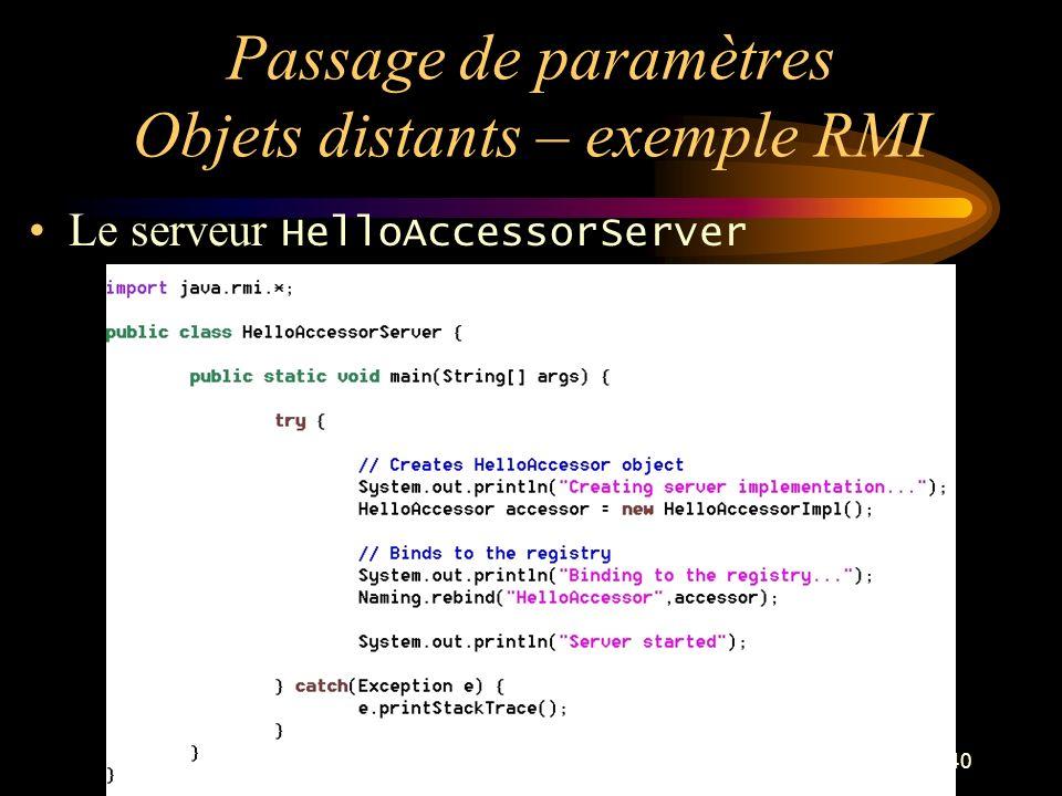 40 Passage de paramètres Objets distants – exemple RMI Le serveur HelloAccessorServer