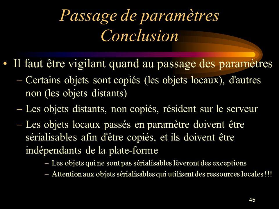 45 Passage de paramètres Conclusion Il faut être vigilant quand au passage des paramètres –Certains objets sont copiés (les objets locaux), d'autres n