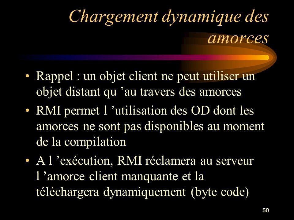 50 Chargement dynamique des amorces Rappel : un objet client ne peut utiliser un objet distant qu au travers des amorces RMI permet l utilisation des