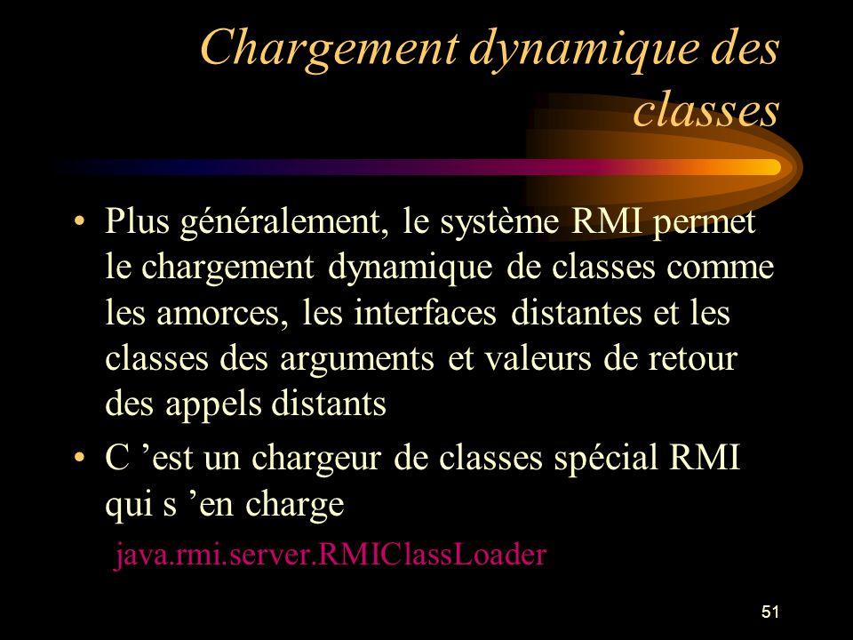 51 Chargement dynamique des classes Plus généralement, le système RMI permet le chargement dynamique de classes comme les amorces, les interfaces dist