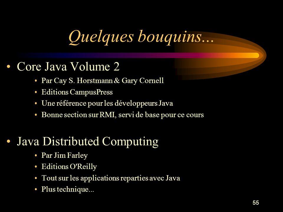 55 Quelques bouquins... Core Java Volume 2 Par Cay S. Horstmann & Gary Cornell Editions CampusPress Une référence pour les développeurs Java Bonne sec