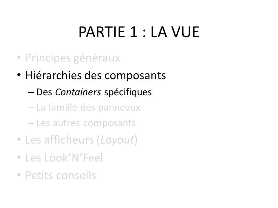 PARTIE 1 : LA VUE Principes généraux Hiérarchies des composants – Des Containers spécifiques – La famille des panneaux – Les autres composants Les aff
