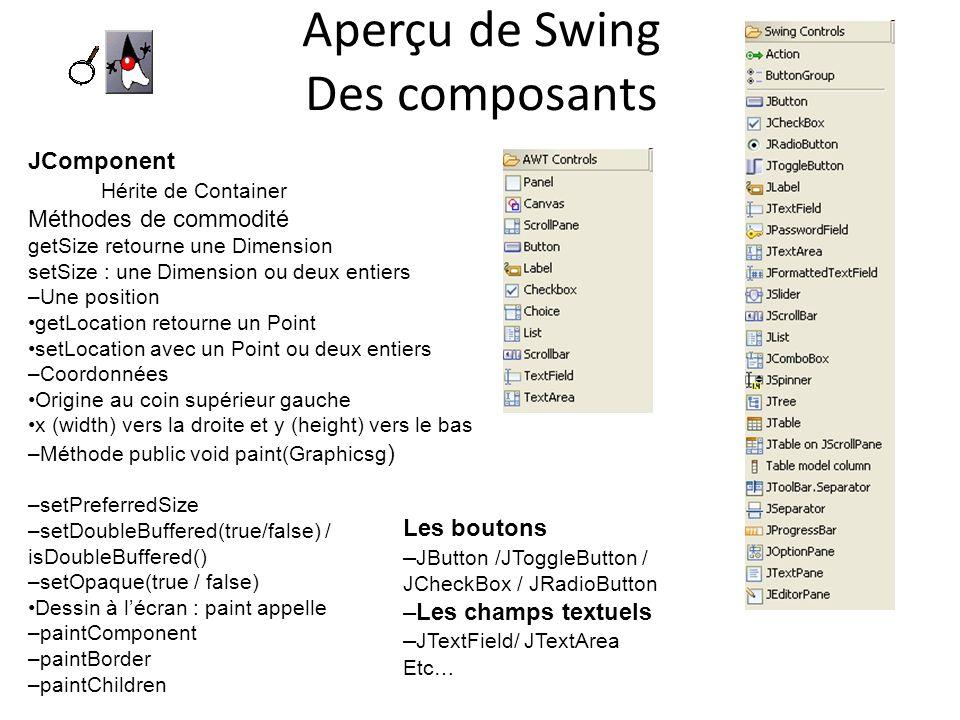 Aperçu de Swing Des composants JComponent Hérite de Container Méthodes de commodité getSize retourne une Dimension setSize : une Dimension ou deux ent