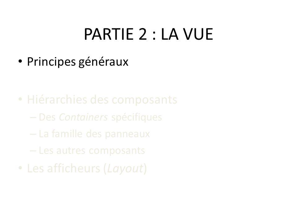 PARTIE 2 : LA VUE Principes généraux Hiérarchies des composants – Des Containers spécifiques – La famille des panneaux – Les autres composants Les aff