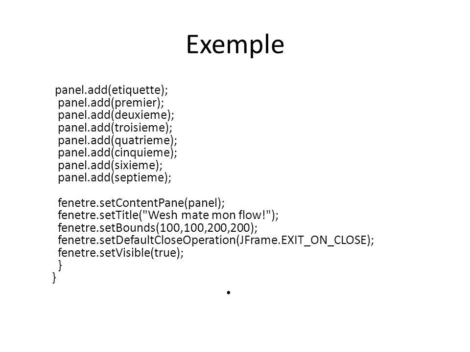 Exemple panel.add(etiquette); panel.add(premier); panel.add(deuxieme); panel.add(troisieme); panel.add(quatrieme); panel.add(cinquieme); panel.add(six