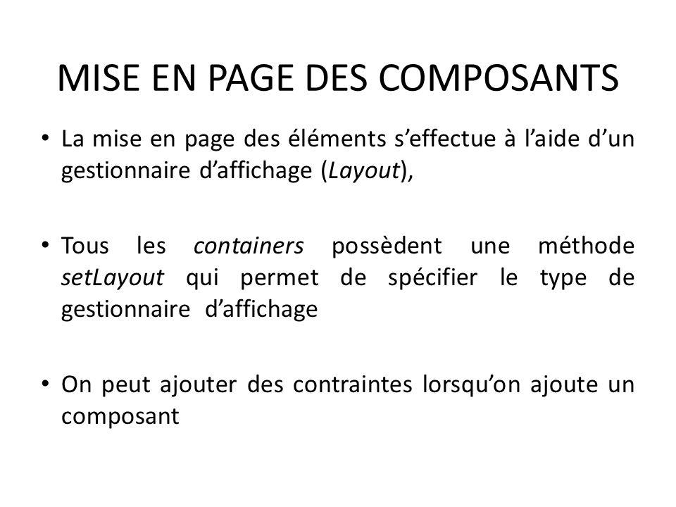 MISE EN PAGE DES COMPOSANTS La mise en page des éléments seffectue à laide dun gestionnaire daffichage (Layout), Tous les containers possèdent une mét