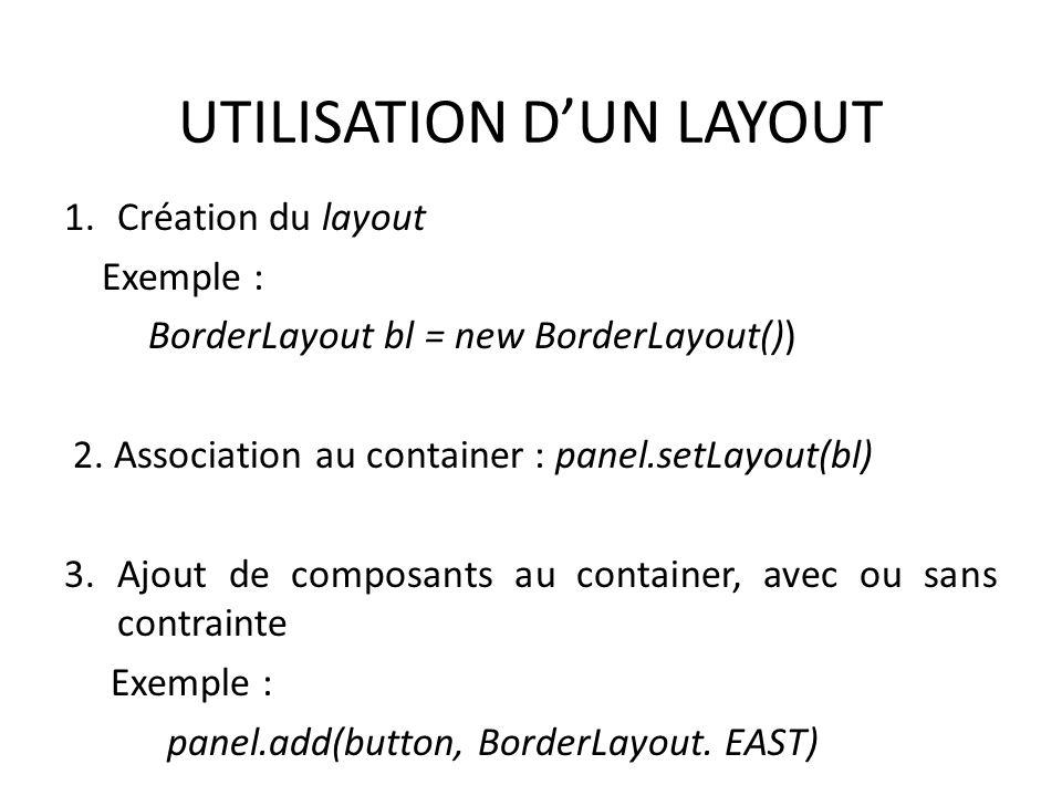 UTILISATION DUN LAYOUT 1.Création du layout Exemple : BorderLayout bl = new BorderLayout()) 2. Association au container : panel.setLayout(bl) 3.Ajout