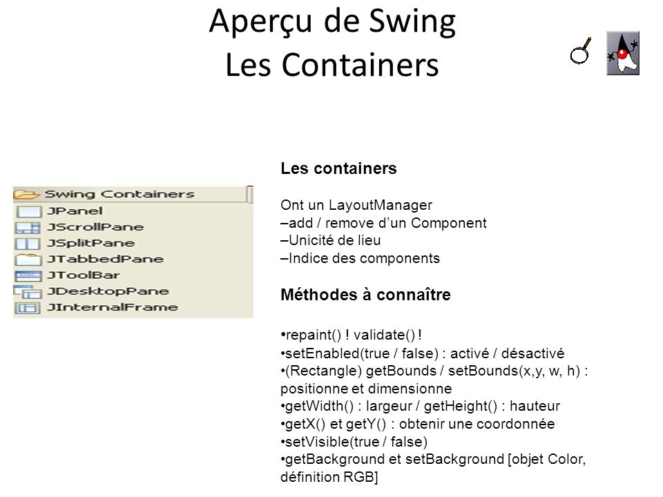 Aperçu de Swing Les Containers Les containers Ont un LayoutManager –add / remove dun Component –Unicité de lieu –Indice des components Méthodes à conn