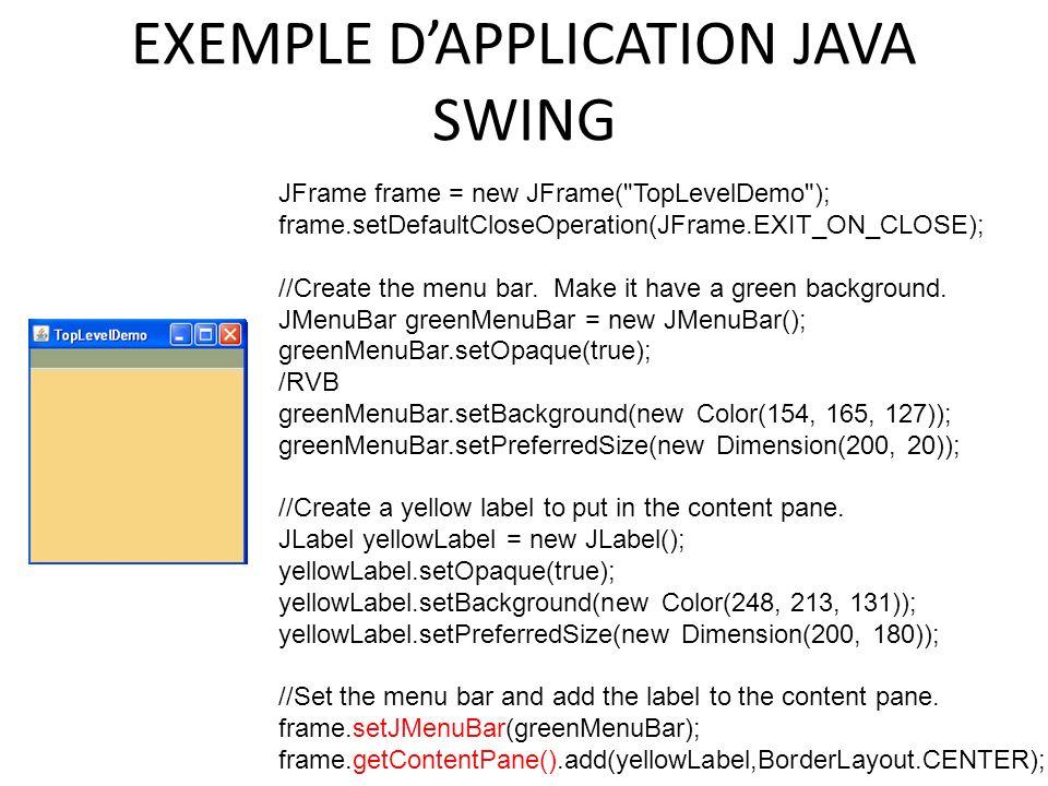 EXEMPLE DAPPLICATION JAVA SWING 91 JFrame frame = new JFrame(