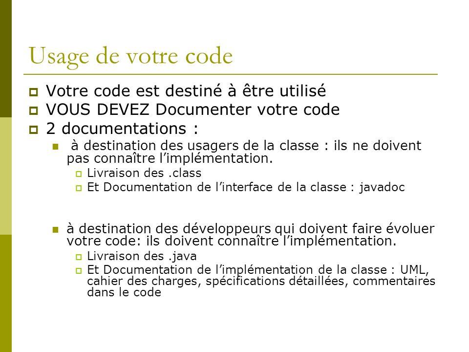 Usage de votre code Votre code est destiné à être utilisé VOUS DEVEZ Documenter votre code 2 documentations : à destination des usagers de la classe :