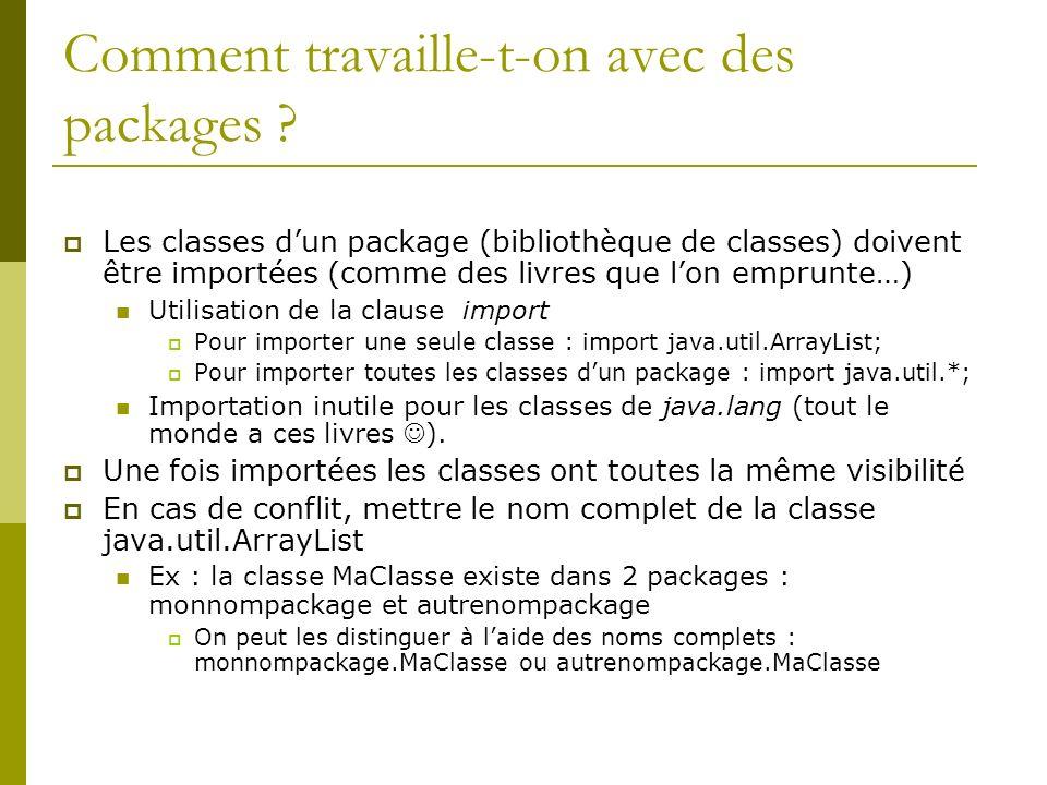 Comment travaille-t-on avec des packages ? Les classes dun package (bibliothèque de classes) doivent être importées (comme des livres que lon emprunte